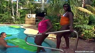 Provocative black bombshell monika and her naughty heavy chested friend teases tall handsome stud jay and josh with their perfectly shaped round buns outdoor in jacuzzi by the pool