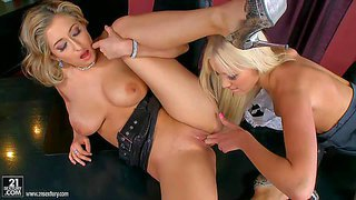 Attractive slender blonde babes teena lipoldino and karina shay with big juicy hooters and long legs in high heels get naked and have amazing pussy licking action on desk in the office