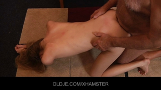Sweet angel plays with old dick