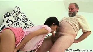 Tonia gets licked by a horny grandpa then sucks him off and gets banged