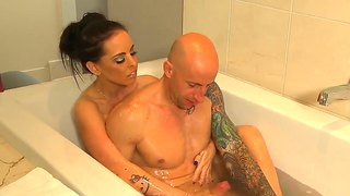 Skinny and busty brunette brandy aniston helps her friend barry scott to relax in the bath