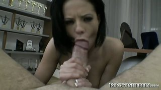 Titten, Tief, Deepthroat, Schwanz, Blowjob