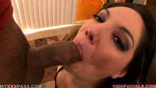 She sticks that rod in her mouth and between her tits on her way to drive it to climax