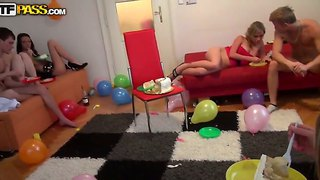 Hot teen orgy during an awesome birthday party