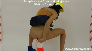 Hotkinkyjo huge traffic cone in ass - extreme anal