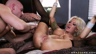 With her stockings on helly hellfire gets her pussy fucked after she gets a nice pussy licking