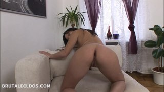 Alisya sucking and getting anally gaped by a big blue brutal dildo in hd