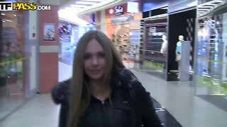 Sexy cute naughty diva grace seductively walks in mall to get an alpha male then pounded so hard till she squirts