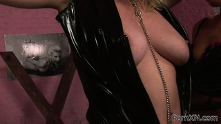 Submissive lezzo gets her nips and pussy pegged before rude fisting