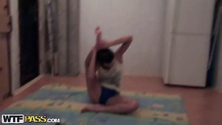 Nickel has another sexy homemade video for you to enjoy. she does yoga and stretching exercises on the floor for the camera. brunette chick in tight blue shorts shows off her sexy legs!