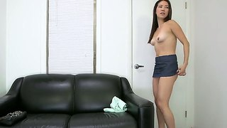 Petite flexible asian lily get naughty at interview