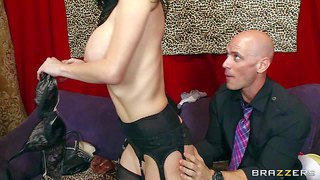 Huge boobed milf veronica avluv chooses new lingerie. johnny sins is the one to help her. her huge jugs turn him on. slutty woman in stockings takes his erection in her eager mouth!