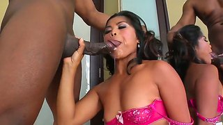 Asian slut arcadia dayida gets two black cocks into her mouth