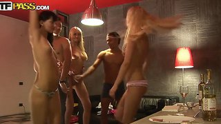 Tigth ass babes carolina, emmy, logan and milia with antural boobies have fun and get naked in room
