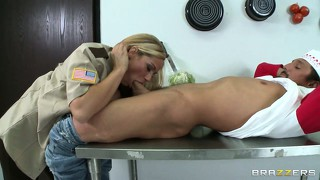 Blonde cop with big tits goes down on his bone and chews on it