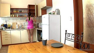 Eve angel is so young and sexy in this early video featuring her playing with her perky natural boobs and flashing her neat european pussy in the kitchen. what a sweet girl!
