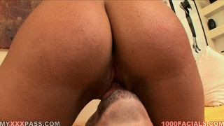 Pretty brunette slut with a phat ass rides like a dirty cowgirl