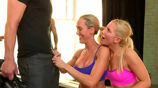 Ashley fires and brandi love play with cocks