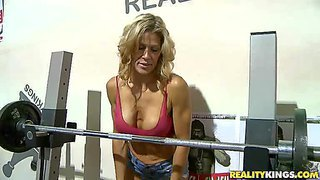 Hard body milf crysstal in revealing top turns guy on at the gym. milf hunter loves her big fake tits and long legs. he picks her up to have sex fun with gorgeous sporty woman in the comfort of his bedroom.