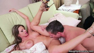 Rachel gets pounded all over the bed and achieves the pleasure she desires