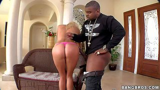 Ivana sugar is a blue-eyed european blonde beauty with sexy round ass and appetite for big black cock. she gives blowjob to well hung black dude and then takes his monster cock in her pink pussy in doggy position.