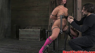 Bdsm sub in great pain while punished harshly