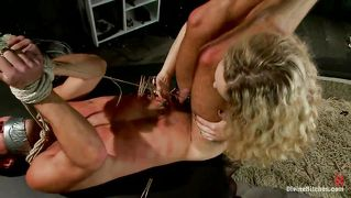 Blonde goddess fucks bound slave with strap-on