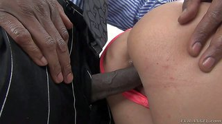 Shay fox is a gorgeous black haired milf with huge fake tits and round ass. she gets her wet pussy drilled by long hard dark dick from behind. she gievs head after pussy penetration.