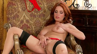 Ashley graham with flaming red hair and horniness