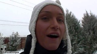 Kathia nobili is all dressed up for spending all day in the snow and gets all recorded by her favorite camera guy along the way and spends her day good