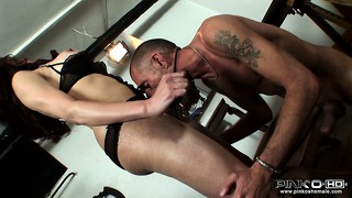 Tattooed dude blows his lady's cock and then gets fucked in the ass