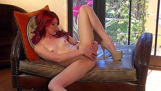 Elle alexandra is a skinny teenage redhead with long legs and small tits. she kicks off her shoes and then strokes her pussy barefoot. she can't keep her hands off her neat pink pussy.