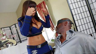 Lisa ann and jayden james are two well stacked dark haired babes n police uniform. they tease blindfolded black guy lexington steele in this scene. they fondle each other to turn him on.