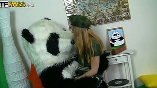 Teen hottie kris enjoys pounding her tight pussy with a giant panda's cock
