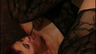 Redheaded milf in lingerie gets her asshole gaped open in a pov
