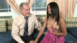 Latina in booty shorts takes a shower and seduces her step dad