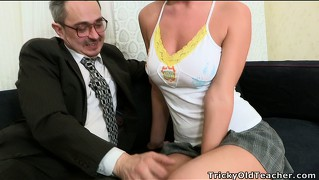 Shelly is eager to present her busty young titties to the horny old man