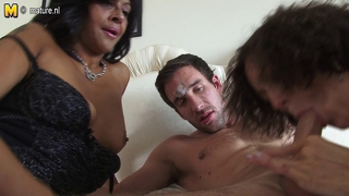 Two mature aunties sharing young boy's cock