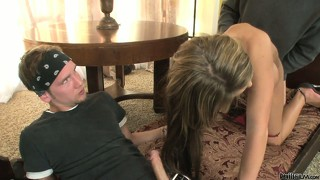 Beautiful brunette with a smoking hot body fucked hard by a guy and his father