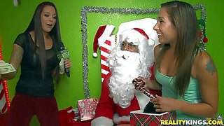 Aroused babes in christmas costumes enjoy in getting some really interesting toys this year from santa and have fun in playing with them for the cam as well
