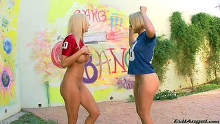Krissy lynn and mariah madysinn are two perfect bodied blondes in uniform. they show off their adorable big bubble asses, huge boobies and totally shaved pussies in the open air. watch hot bodied blondes pose on cam.