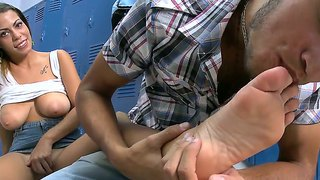 Enjoy hot foot fetish scene with awesome naughty jasmine and her nice big coconuts