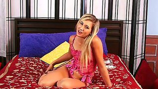 Busty blonde chick lilly banks is masturbating alone in her apartment on the couch