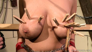 She gets clothespins on her big tits while tied up and tortured