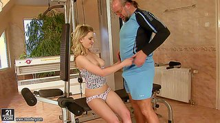 Kimy is one young angel faced blonde girl. she bares her small tits and gives headjob to older man before she spreads her legs and gets her incredibly sweet smooth pussy eaten out.