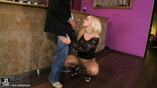 Sexy blonde is really horny and gets a couple of cocks to play with