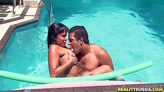 Filthy playboy tony tigrao with hot muscled body and meaty hard cock plays with chubby tanned latina whore bia costa in red bikini and gets sucked good by the pool on a sunny day