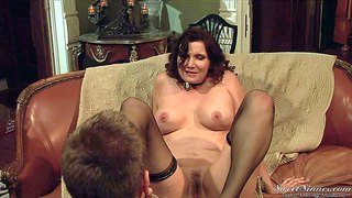 Nica noelle is a sex starved hot milf. this passionate brunette in black stockings is his mom's best friend and he has a good time drilling her experienced many times used pussy.