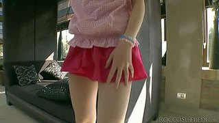 Playful teen girl tina blade in sexy mini skirt pulls down her lovely pink panties. she spreads her buttocks in front of rocco siffredi and gets her tight pussy fingered fucked from behind.