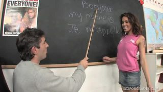 Perky brunette student bangs teacher